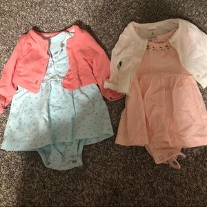 Two Infant dresses with matching cardigans